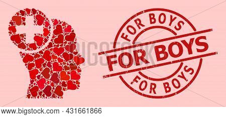 Scratched For Boys Seal, And Red Love Heart Collage For Head Treatment. Red Round Stamp Seal Has For