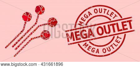 Scratched Mega Outlet Stamp, And Red Love Heart Collage For Circuit Connectors. Red Round Stamp Seal