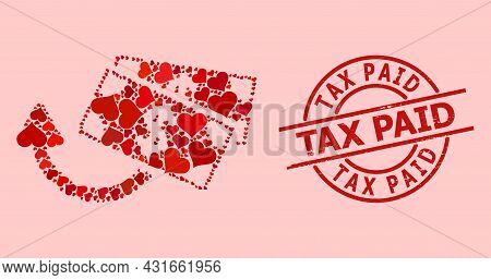Rubber Tax Paid Stamp Seal, And Red Love Heart Pattern For Dollar Banknotes Refund. Red Round Stamp