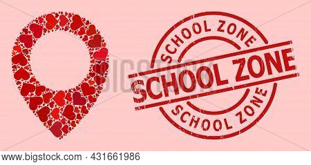 Textured School Zone Stamp Seal, And Red Love Heart Pattern For Map Pointer. Red Round Stamp Seal In