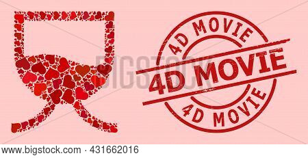 Textured 4d Movie Stamp Seal, And Red Love Heart Collage For Liquid Tank. Red Round Stamp Seal Conta