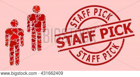 Rubber Staff Pick Stamp Seal, And Red Love Heart Pattern For People. Red Round Stamp Seal Has Staff
