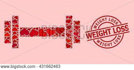 Rubber Weight Loss Stamp Seal, And Red Love Heart Collage For Barbell. Red Round Stamp Seal Includes