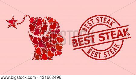 Distress Best Steak Seal, And Red Love Heart Mosaic For Bomb Idea. Red Round Badge Has Best Steak Te