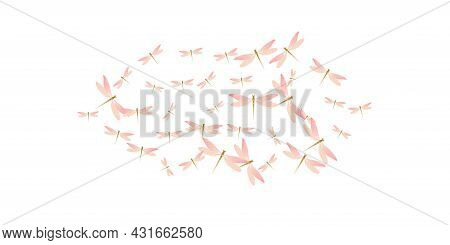 Fairy Rosy Pink Dragonfly Flat Vector Wallpaper. Spring Beautiful Insects. Detailed Dragonfly Flat K