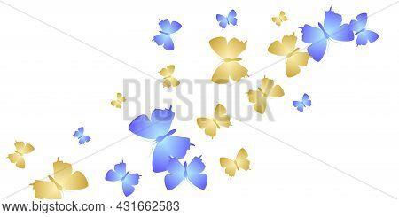 Tropical Bright Butterflies Abstract Vector Illustration. Summer Pretty Moths. Wild Butterflies Abst