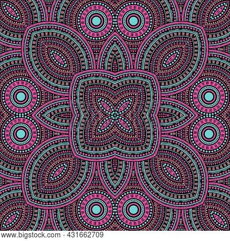 Linear Moroccan Zellige Tile Seamless Ornament. Ethnic Structure Vector Patchwork. Plaid Print Desig