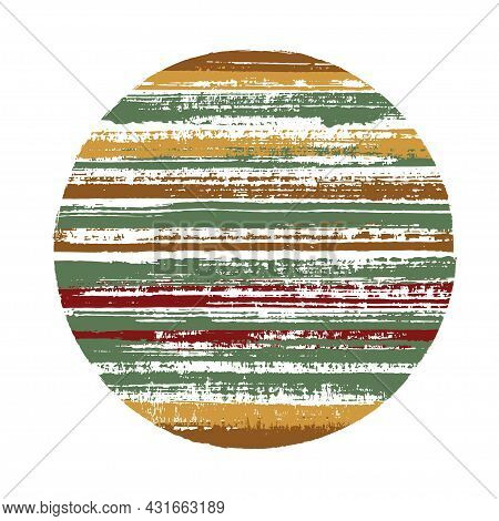 Modern Circle Vector Geometric Shape With Striped Texture Of Ink Horizontal Lines. Disk Banner With
