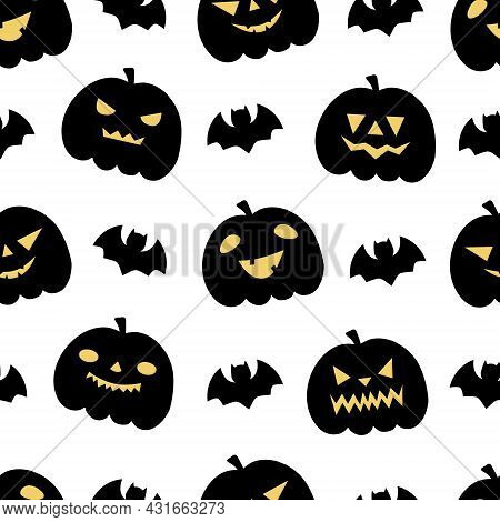Halloween Seamless Patterns With Pumpkins Ans Bats. Perfect For Decoration, Wallpapers, Wrapping Pap