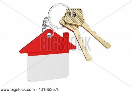 Real Estate In Indonesia. Home Keychain With Indonesian Flag. Property, Rent Or Mortgage Concept. 3d