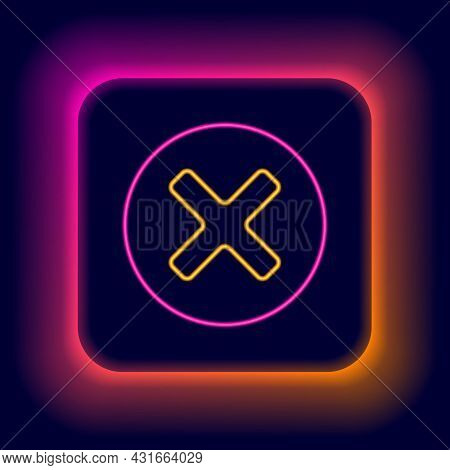 Glowing Neon Line X Mark, Cross In Circle Icon Isolated On Black Background. Check Cross Mark Icon.