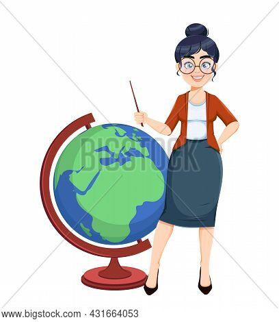 Happy Techer Day. Cute Female Teacher Cartoon Character Standing With Big Globe While Geography Less