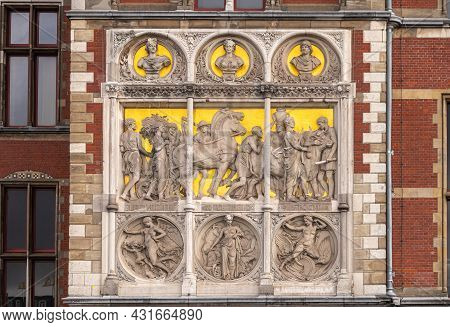 Amsterdam, Netherlands - August 14, 2021: Closeup Of Fresco Composition On Left Side Of Centraal Rai