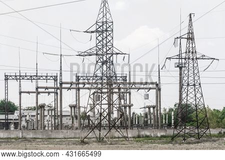 High Voltage Power Line Energy At The Substation.