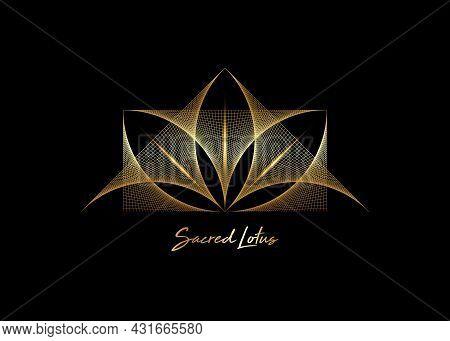 Gold Geometric Wireframe Sacred Lotus Flower, Thread Art. Sacred Geometry. String Golden Line Symbol