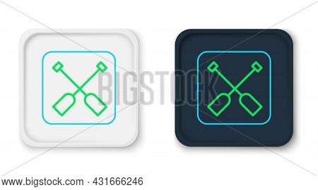 Line Paddle Icon Isolated On White Background. Paddle Boat Oars. Colorful Outline Concept. Vector