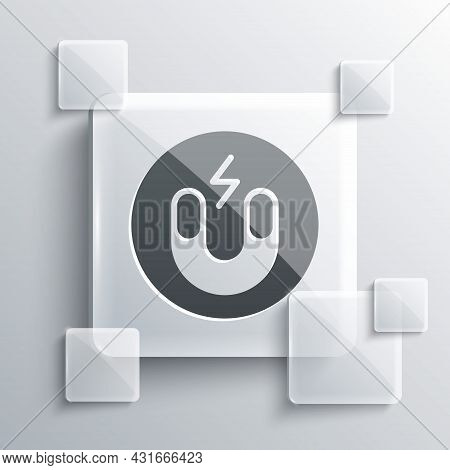 Grey Magnet Icon Isolated On Grey Background. Horseshoe Magnet, Magnetism, Magnetize, Attraction. Sq