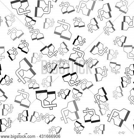 Black Traditional Brewing Vessels In Brewery Icon Isolated Seamless Pattern On White Background. Bee