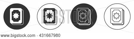 Black Tarot Cards Icon Isolated On White Background. Magic Occult Set Of Tarot Cards. Circle Button.