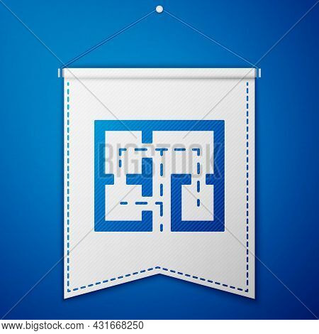 Blue Evacuation Plan Icon Isolated On Blue Background. Fire Escape Plan. White Pennant Template. Vec