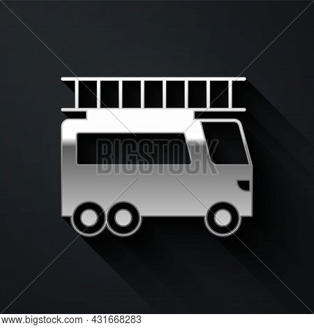 Silver Fire Truck Icon Isolated On Black Background. Fire Engine. Firefighters Emergency Vehicle. Lo