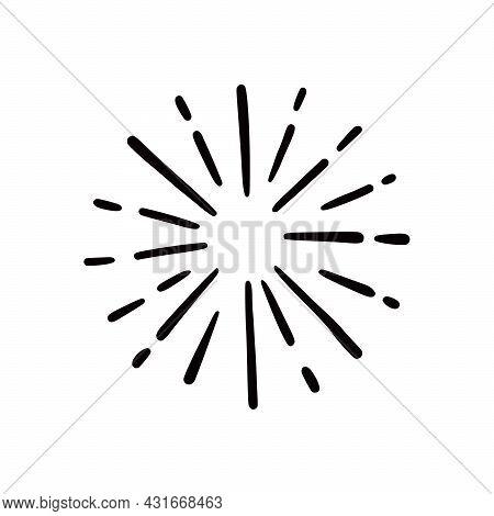Hand Drawn Sunburst Shine Ray And Sparkle Element. Doodle Sketch Style. Circle Burst Of Sun, Star. V