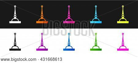 Set Antenna Icon Isolated On Black And White Background. Radio Antenna Wireless. Technology And Netw
