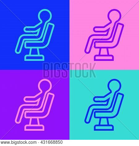 Pop Art Line Human Waiting In Airport Terminal Icon Isolated On Color Background. Vector