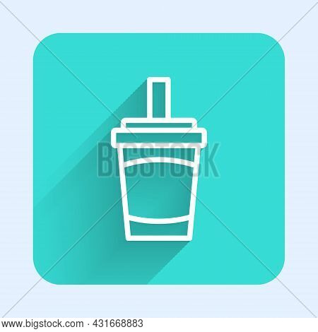 White Line Paper Glass With Drinking Straw And Water Icon Isolated With Long Shadow Background. Soda