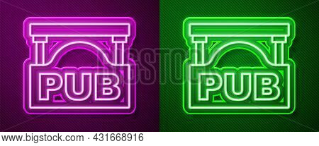 Glowing Neon Line Street Signboard With Inscription Pub Icon Isolated On Purple And Green Background