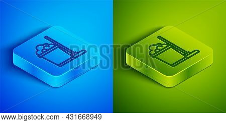 Isometric Line Mop And Bucket Icon Isolated On Blue And Green Background. Cleaning Service Concept.