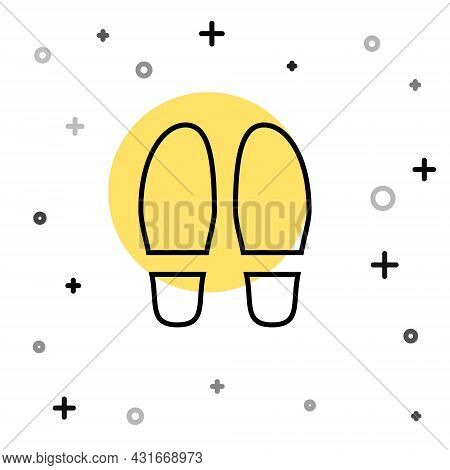 Black Line Footsteps Icon Isolated On White Background. Detective Is Investigating. To Follow In The
