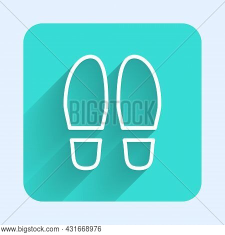 White Line Footsteps Icon Isolated With Long Shadow Background. Detective Is Investigating. To Follo