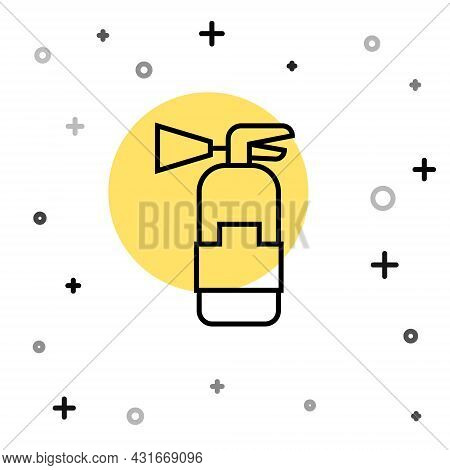 Black Line Fire Extinguisher Icon Isolated On White Background. Random Dynamic Shapes. Vector