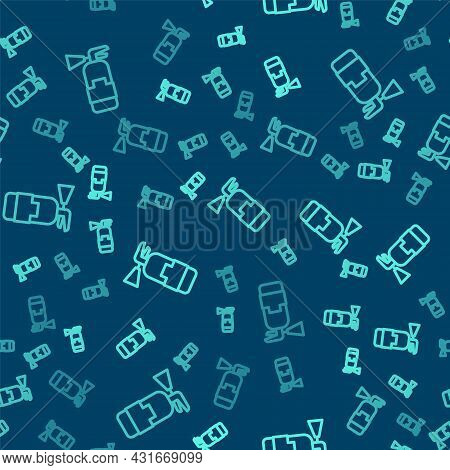Green Line Fire Extinguisher Icon Isolated Seamless Pattern On Blue Background. Vector