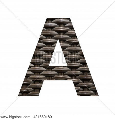 Uppercase Letter A - Synthetic Rattan Background