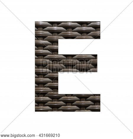 Uppercase Letter E - Synthetic Rattan Background