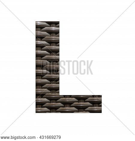 Uppercase Letter L - Synthetic Rattan Background
