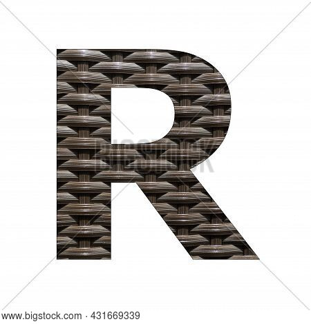 Uppercase Letter R - Synthetic Rattan Background