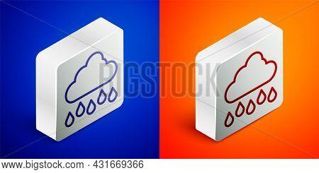 Isometric Line Cloud With Rain Icon Isolated On Blue And Orange Background. Rain Cloud Precipitation