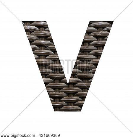 Uppercase Letter V - Synthetic Rattan Background