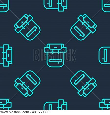 Green Line Hiking Backpack Icon Isolated Seamless Pattern On Blue Background. Camping And Mountain E