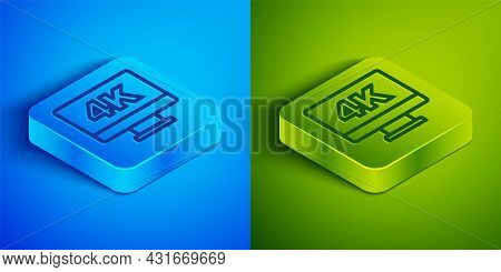 Isometric Line Screen Tv With 4k Ultra Hd Video Technology Icon Isolated On Blue And Green Backgroun