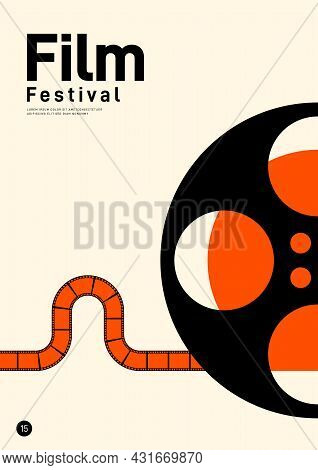 Movie And Film Poster Design Template Background With Retro Film Reel. Can Be Used For Backdrop, Ban