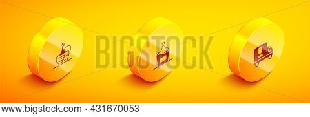 Set Isometric Wine In Italian Fiasco Bottle, Old Of Wine And Truck Icon. Vector