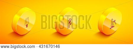 Set Isometric Ice Cream, Firework Rocket And Striker Attraction With Hammer Icon. Vector