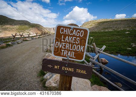 Sign For The Chicago Lakes Overlook Trail Along The Mt. Evans Scenic Byway In Colorado