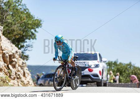 Col Du Serre De Tourre,france - July 15,2016: The Italian Cyclist Paolo Tiralongo Of Astana Team Rid