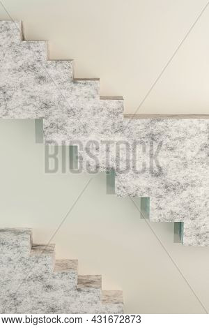 Beige Modern Design Template With Stairs 3d Render And Glowing Circles. Abstract 3d Render Mockup. M