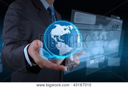 businessman hand using tablet computer and server room background poster